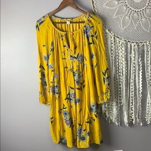 Old Navy Yellow Floral Boho Dress